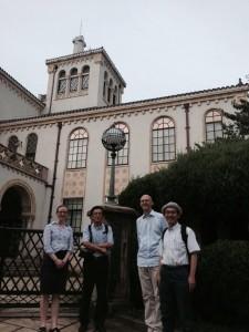 Isabella Jackson, Ishikawa Yoshihiro, Robert Bickers and Toshihiko Kishi at the old Jinbunken building, Kyoto University