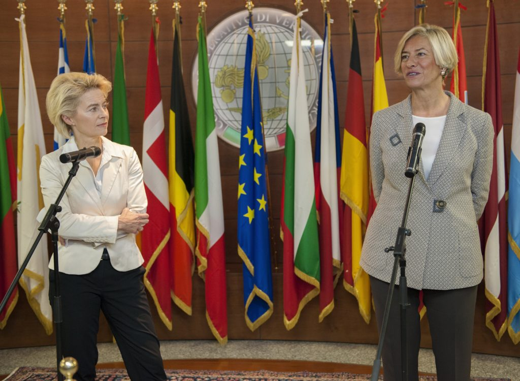 Italian and German Foreign Ministers visit EUNAVFOR MED operation SOPHIA HQ, Rome. L-R, Roberta Pinotti, Minister of Defence, Italy; Ursula von der Leyen, Minister of Defence, Germany.