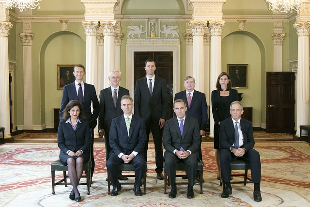 Current Bank of England Monetary Policy Committee. Front row (left to right): Nemat (Minouche) Shafik - Deputy Governor, Markets & Banking, Ben Broadbent - Deputy Governor, Monetary Policy, Mark Carney - Governor, Sir Jon Cunliffe - Deputy Governor, Financial Stability   Back row (left to right): Andrew Haldane - Executive Director, Monetary Analysis & Chief Economist, Martin Weale - External member, Dr Gertjan Vlieghe - External member, Ian McCafferty - External member, Kristin Forbes - External member. Credit - James Oxley/Bank of England Flickr.com