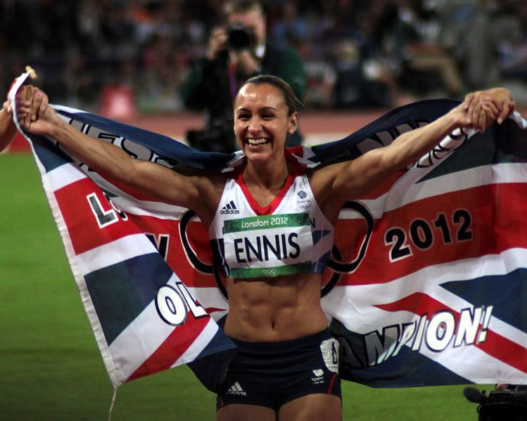 Jessica Ennis with the UK flag after winning gold in the heptathlon at the 2012 Summer Olympics. Robbie Dale/Flickr.com