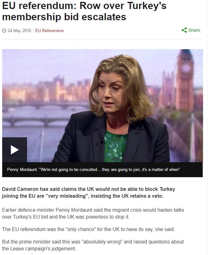 EU referendum: Row over Turkey's membership bid escalates. BBC News, 24 May 2016