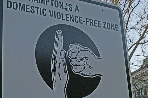 """North Hampton is a Domestic violence free-zone"" (Massachussetts). Credit - Ben Pollard [CC BY-SA 2.0], via Wikimedia Commons"