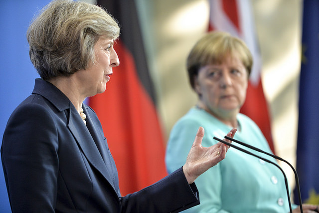 PM visit to Germany July 2016 (l-r) Prime Minister Theresa May, Chancellor Angela Merkel. Tom Evans/Crown Copyright (CC BY-NC-ND 2.0)