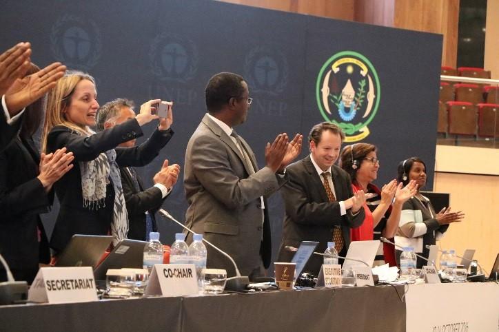 Delegates celebrate the finalisation of the Kigali deal. Credit: COP 22