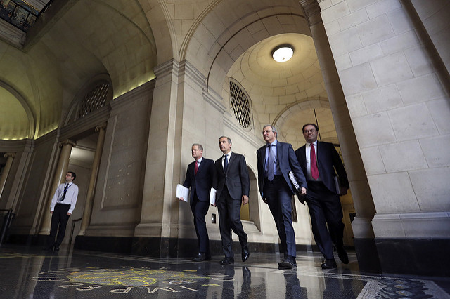 Spencer Dale, Mark Carney, Jon Cunliffe and Andrew Bailey at the Financial Stability Report Press Conference - June 2014. Credit - Bank of England/Flickr. (CC BY-NC-ND 2.0)