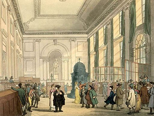 By Thomas Rowlandson (1756–1827) and Augustus Charles Pugin (1762–1832) (after) John Bluck (fl. 1791–1819), Joseph Constantine Stadler (fl. 1780–1812), Thomas Sutherland (1785–1838), J. Hill, and Harraden (aquatint engravers) [Public domain], via Wikimedia Commons