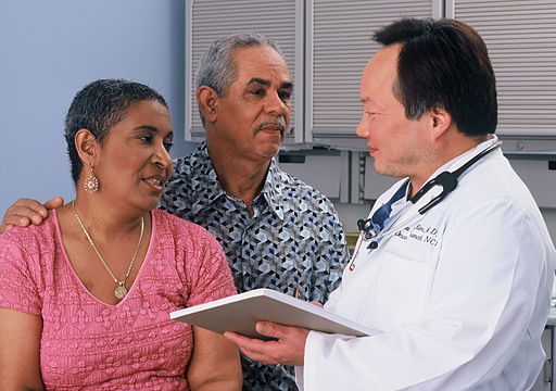 Couple consults with healthcare professional