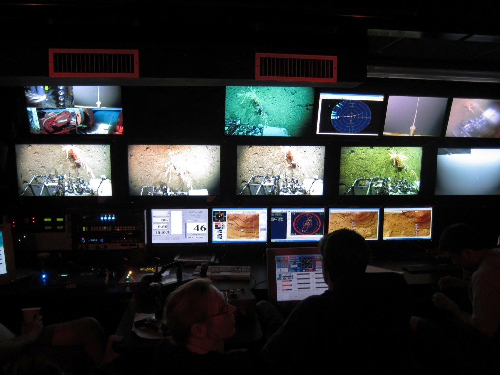 Inside the control van of ROV ISIS. Scientists and engineers getting ready to harvest biology and fossil coral samples Photo by: Allison