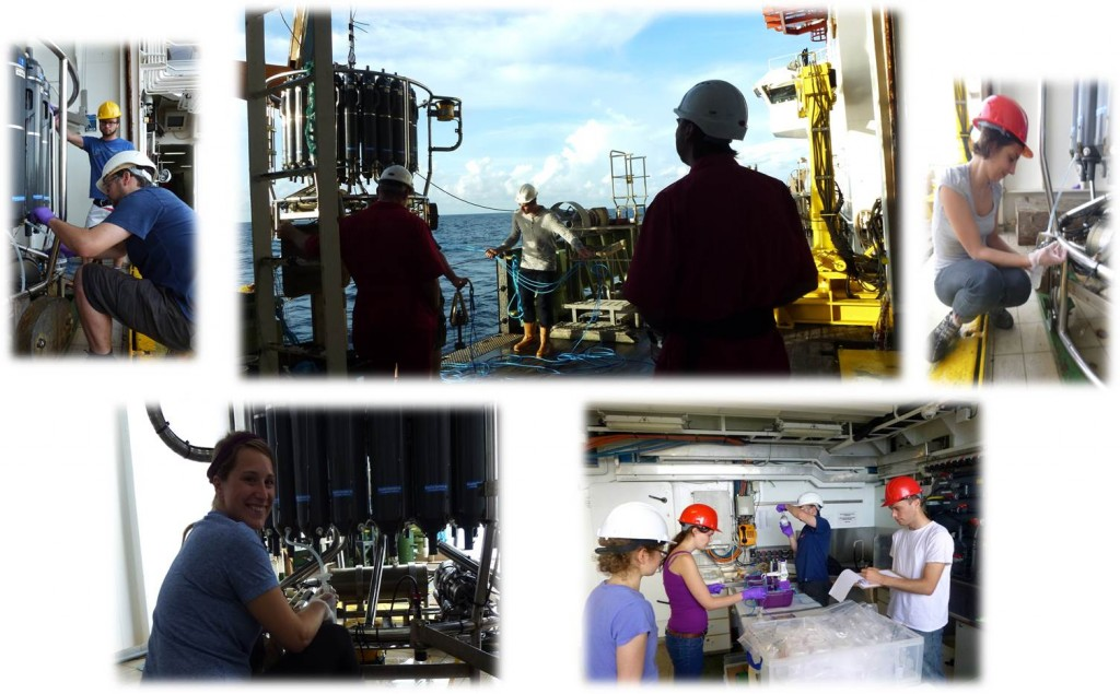 Arrived at our first sampling destination: off Carter seamount. Team seawater sampling in action. Photo by: Melanie, Vanessa, Michelle