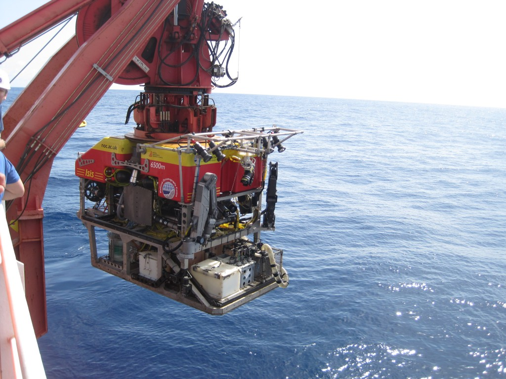 Commencing first ROV dive on Carter seamount. Photo by: Peter
