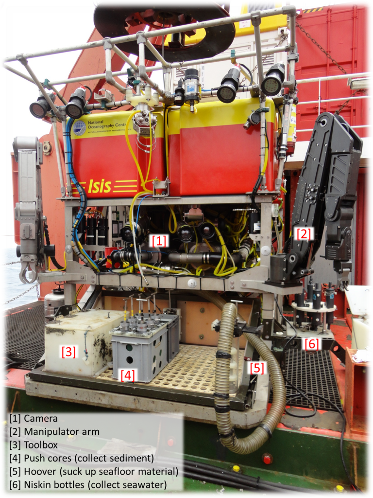 "Remotely-Operated Vehicle ""ISIS"". We will control her high-tech manipulator arms to collect seafloor fossil corals/fauna/sediment at deep ocean.  Photo by: Hong Chin"