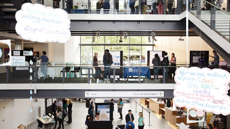 Colston Hall foyer and bridges, full of exhibitors and members of the public