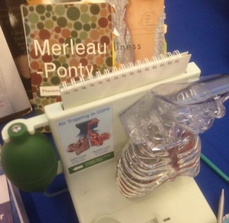 a display of philosophy books and a medical model of the lungs