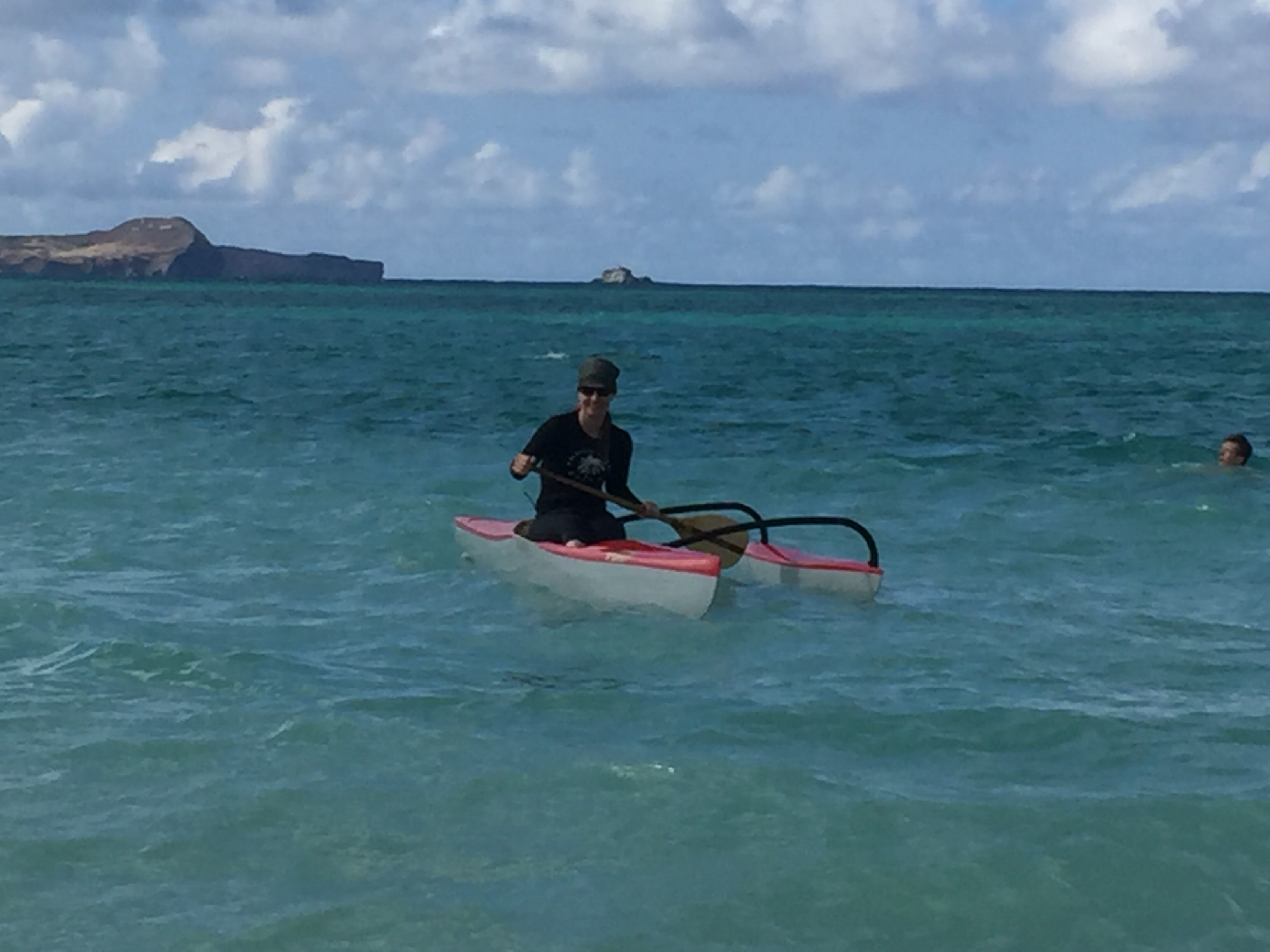A woman in a canoe
