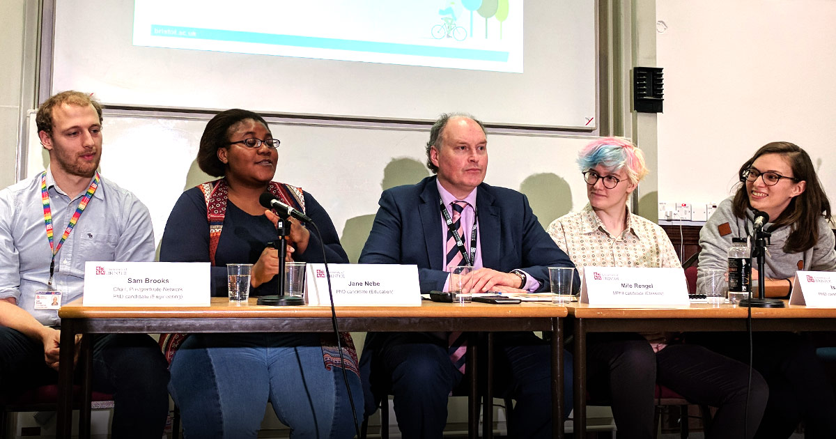 PGR panel with the BDC Director at the 2017 Postgraduate Open Day