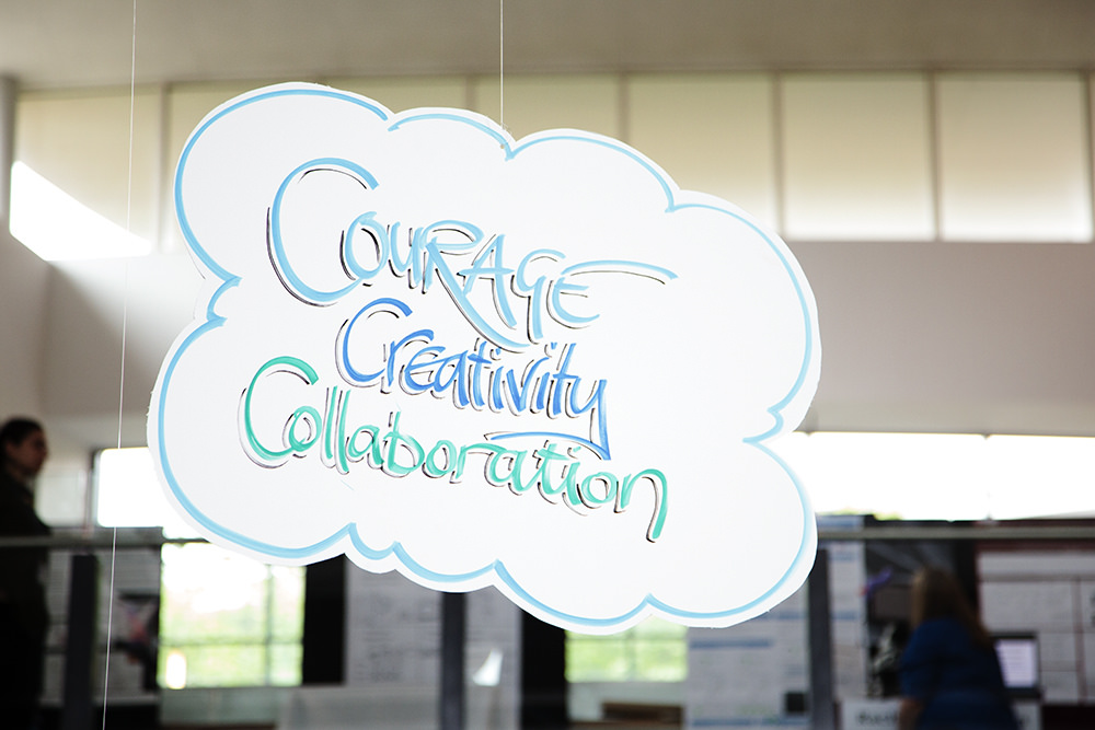 'Courage, creativity, collaboration' caption at the Research without Borders festival
