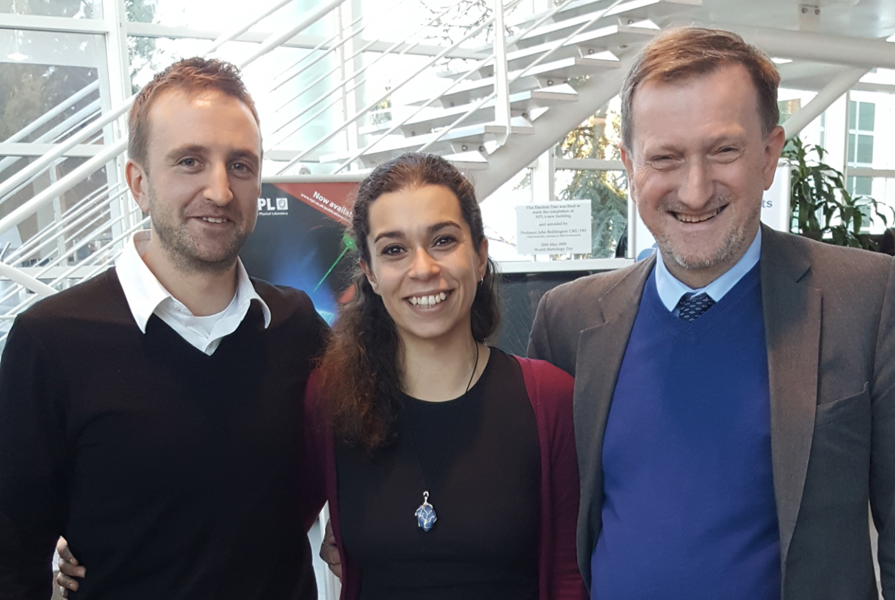 Eleni Michalopoulou (centre) with project partner Tim Arnold (left) and Prof. Mike Czerniak (right).