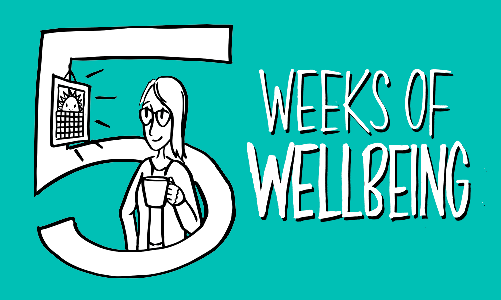 Cartoon woman with '5 Weeks of Wellbeing' caption
