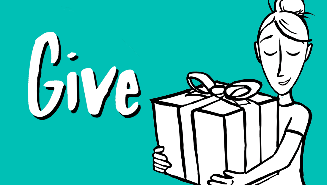 A woman holding a boxed gift | Give