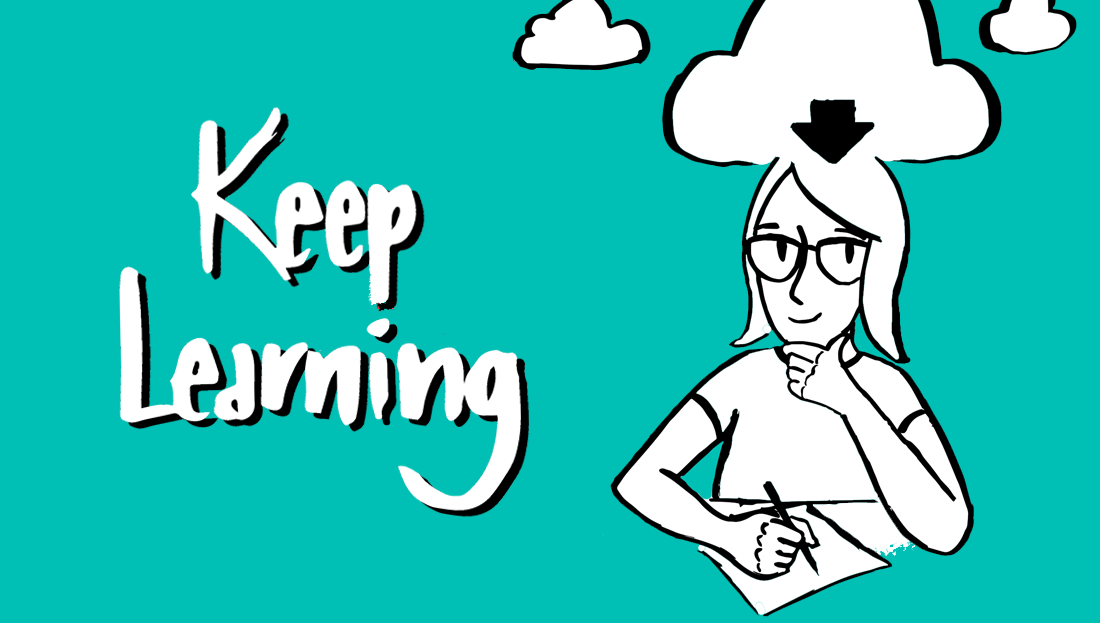 Cartoon woman with a download cloud above her head | 'Keep Learning'