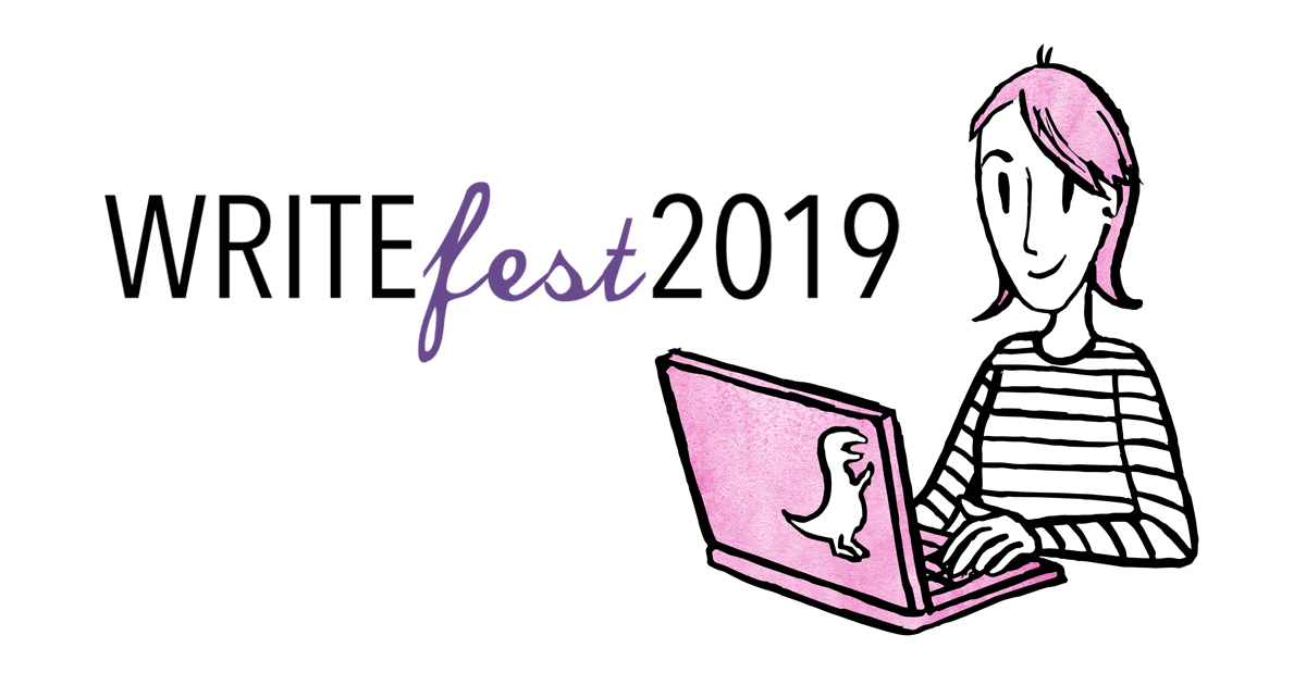 WriteFest 2019 | cartoon character using a laptop