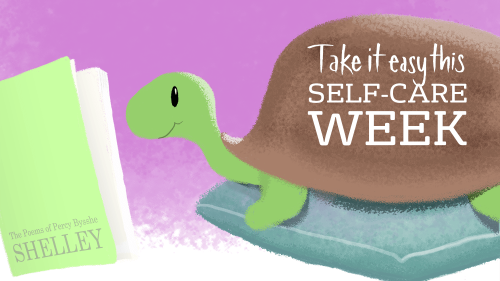 A cartoon tortoise reading a book | 'Take it easy this Self-Care Week'