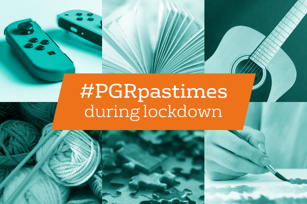 #PGRpastimes during lockdown' | Nintendo Switch controllers; a book, a guitar; wool and knitting needles; jigsaw pieces; a person painting
