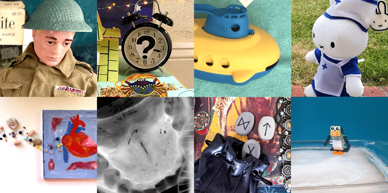 8 images from the 'virtual showcase' competition. Clockwise from top-left: an Action Man in military gear; a clock with a question mark on its face; a toy submarine; a Miffy toy dressed as a healthcare worker; a toy penguin on a sheet of ice; a bag of runes; an X-ray of a mouth; a painting of a heart.