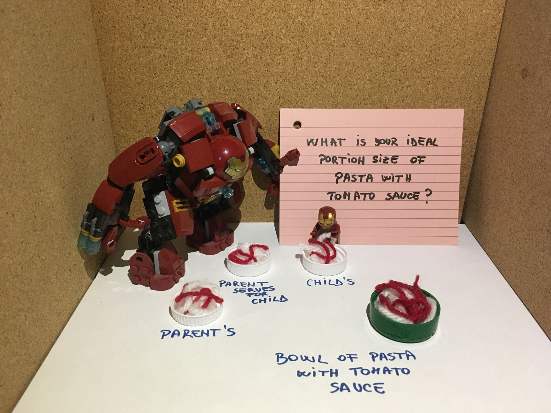 A large Iron Man toy holding a sign. The sign says 'What is your ideal portion size of pasta with tomato sauce?'. In front of this toy are four discs, each covered in wool - an effect designed to look like plates of food. The discs are labelled 'parent's', 'parent serves for child', 'child's' and 'bow;l of pasta with tomato sauce'. Next to the child's disc is a LEGO Iron Man.