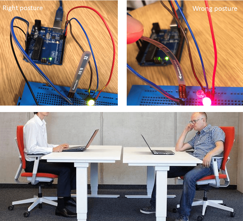 Two images of circuit boards and LEDs - one labelled 'right posture' and the other labelled 'wrong posture' | Two men sitting at desks - one sitting upright, and the other with a visible slump
