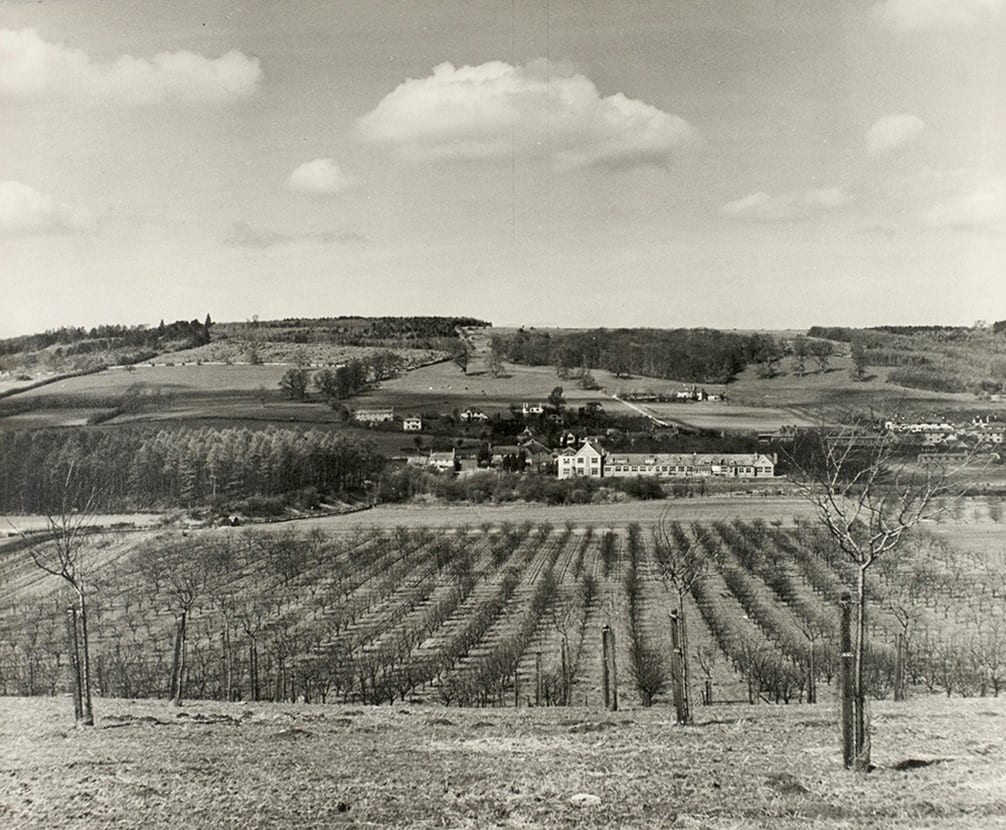 General view of laboratories and section of the fruit plantations, also shows the Long Ashton area.