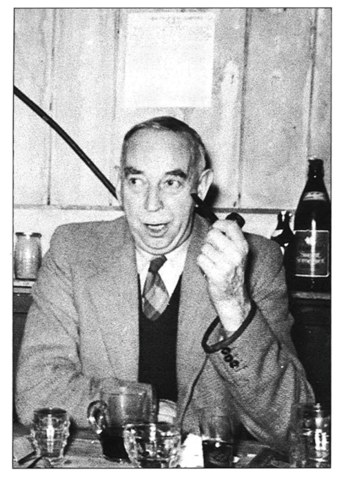 Leo Palmer at the UBSS New Year party at Burrington, 1956/57.