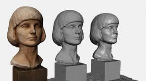 3 views of a digitised plaster bust
