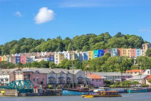 Clifton Wood, Bristol - colourful houses, Harbourside and Bristol Ferry boat