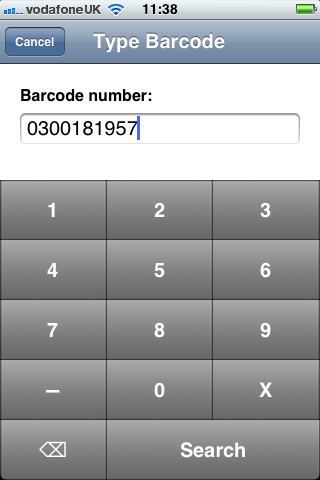 Enter a barcode number