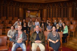Prof Eisenburger in Winson Churchill chair at Wills Memorial, along with the Hannover Exchange group