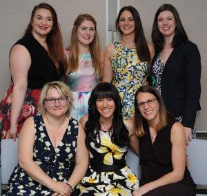 Back row left to right: Laura Adams, Sarah Beeby, Katy Broadway & Harriet Buley Front row left to right: Emma Lowe, Karen Beveridge & Nikki Kinsman