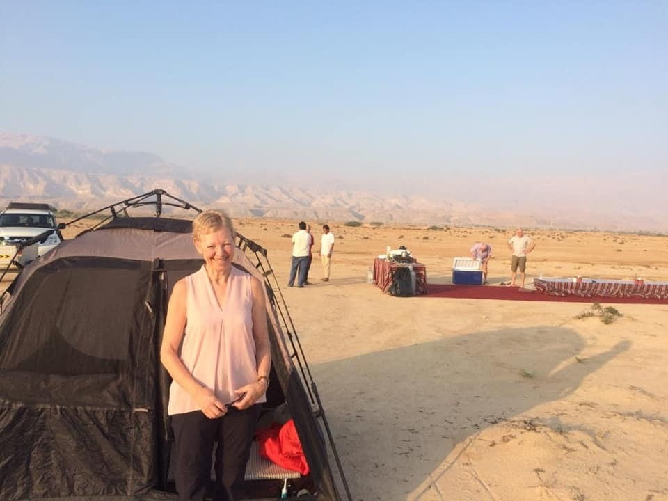 Edwina Whitwell camping in the desert in Oman