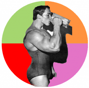 Arnold Schwarzenegger inside a coloured circle in 4 segments reading Nutritious, delicious, cheap, easy