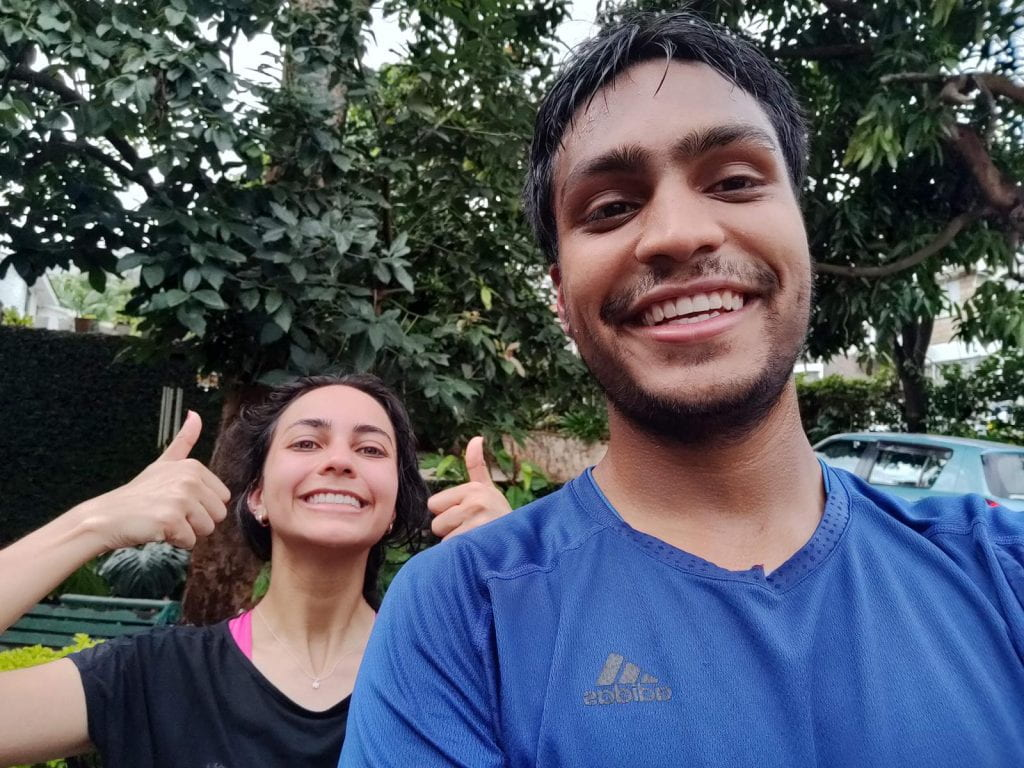 A selfie of Rushab Shah and his Sister, Sachee, smiling
