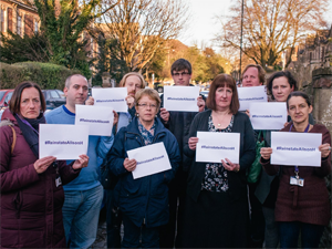 UCU members campaigning for reinstatement of Alison Hayman