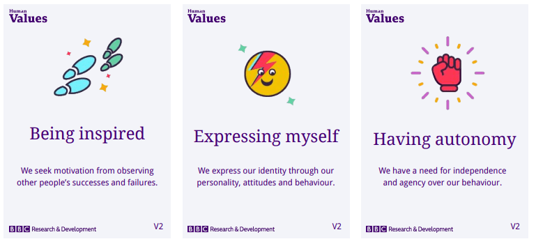 Three example flash cards showing the values: being inspired, expressing myself, having autonomy