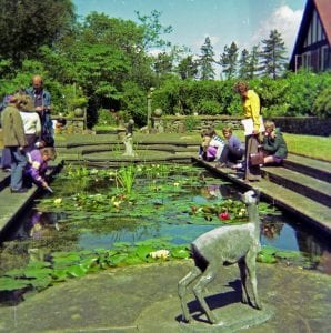 photograph of a group of schoolchildren and a couple of adults gathered around the edge of a pond. They are looking into the pond, and some of them are pointing into it. There is a stone sculpture of a doe in the foreground.