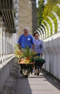 A smiling middle aged man and woman walk across the Clifton suspension bridge on a sunny day with wheelbarrows full of interesting looking plants.