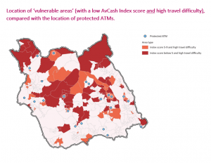 Map of vulnerable areas & protected ATMs