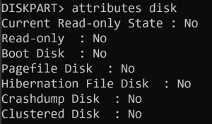 DISKPART command showing Read-Only flag is set to No