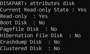 DISKPART command showing Read-Only flag is set to Yes