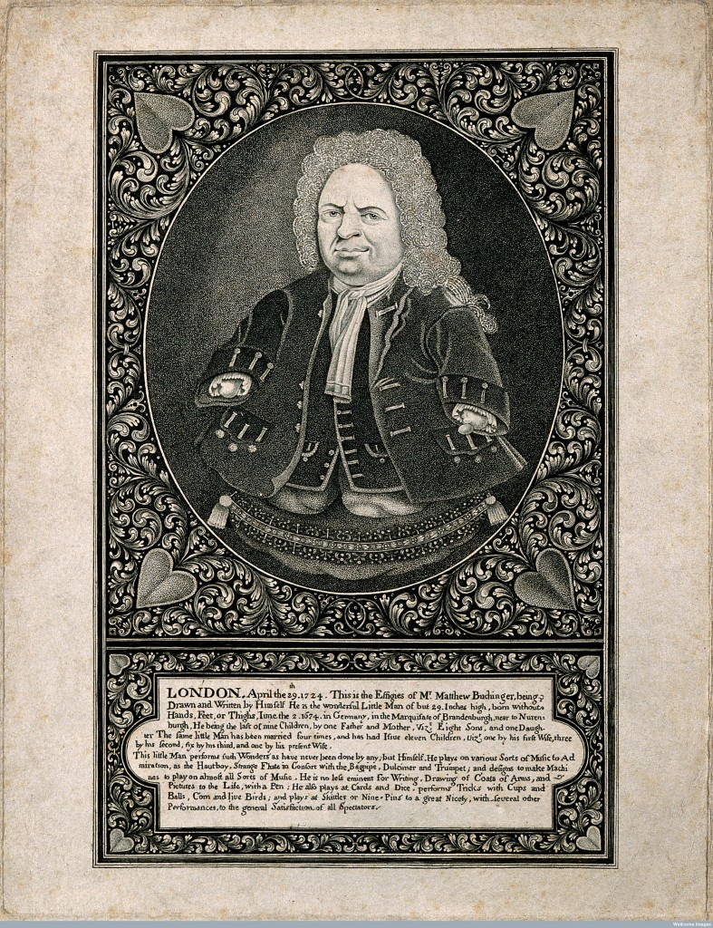 V0007013 Matthias Buchinger, a phocomelic. Engraving after a self por