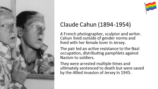 Claude Cahun (1894-1954) A French photographer sculptor and writer. Cahun lived outside of gender norms and lived with her female lover in Jersey