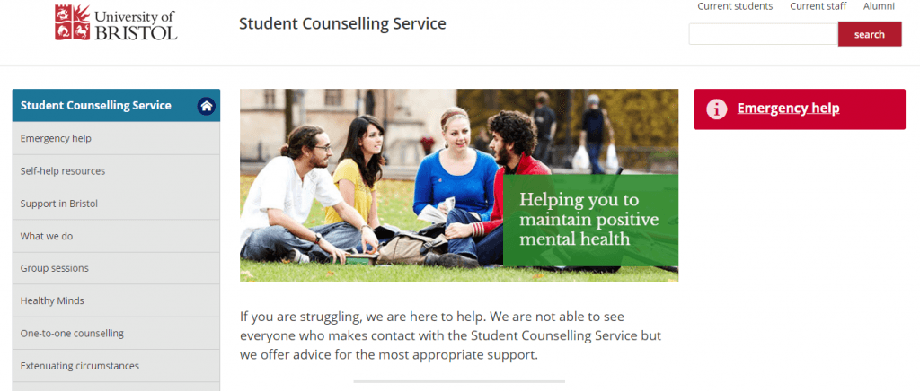 The university's student counselling service page